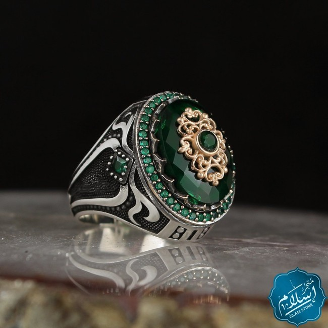Silver ring for men with green zircon stone