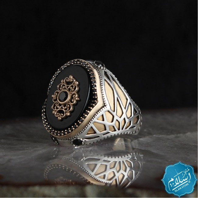 Silver ring with onyx stone black color