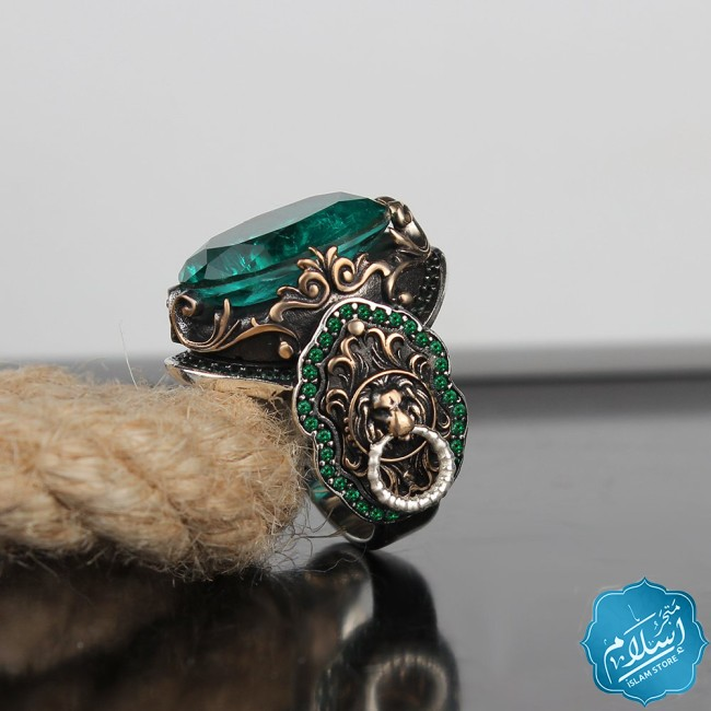 Mens silver ring decorated with paraiba Stone Green color