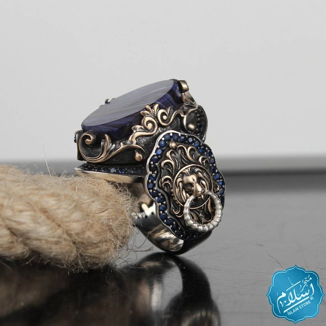 Mens silver ring with blue amber stone