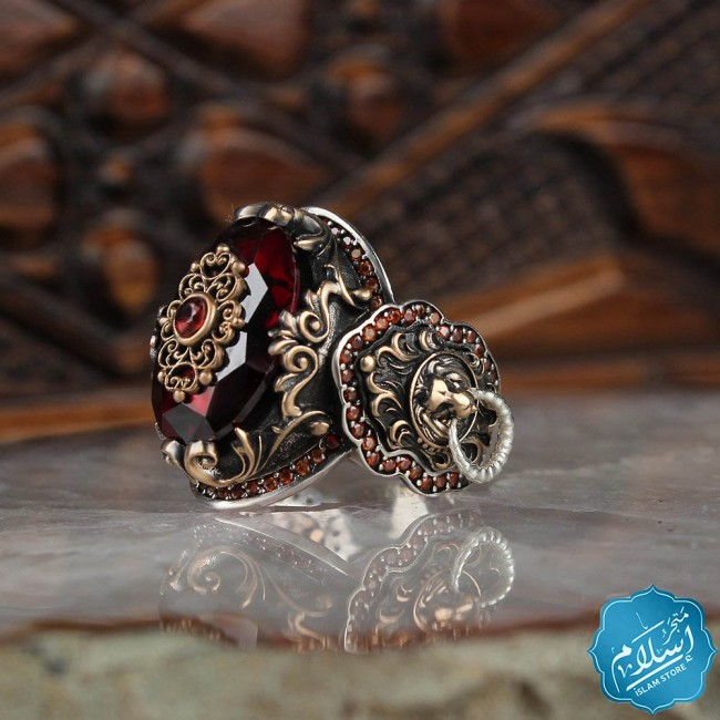 Mens silver ring with red zircon stone