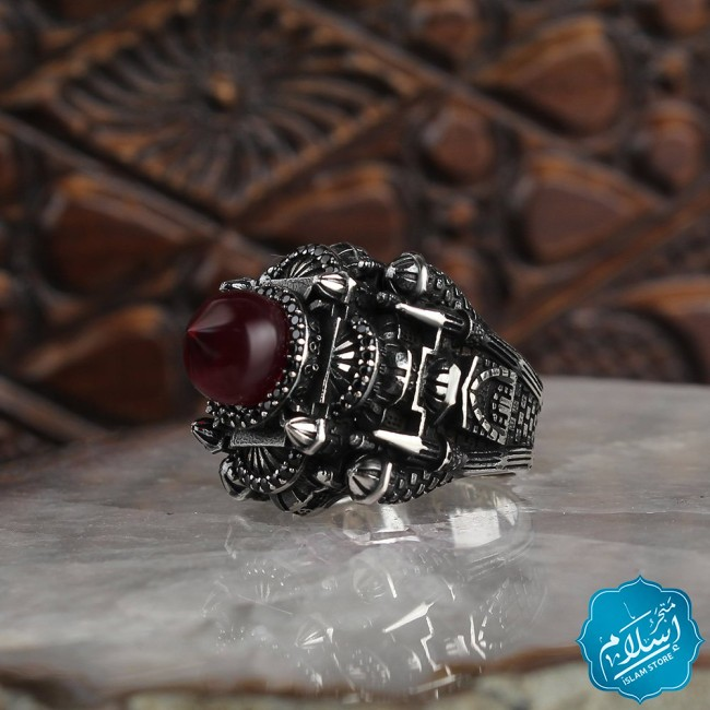 Silver ring with artificial amber stone