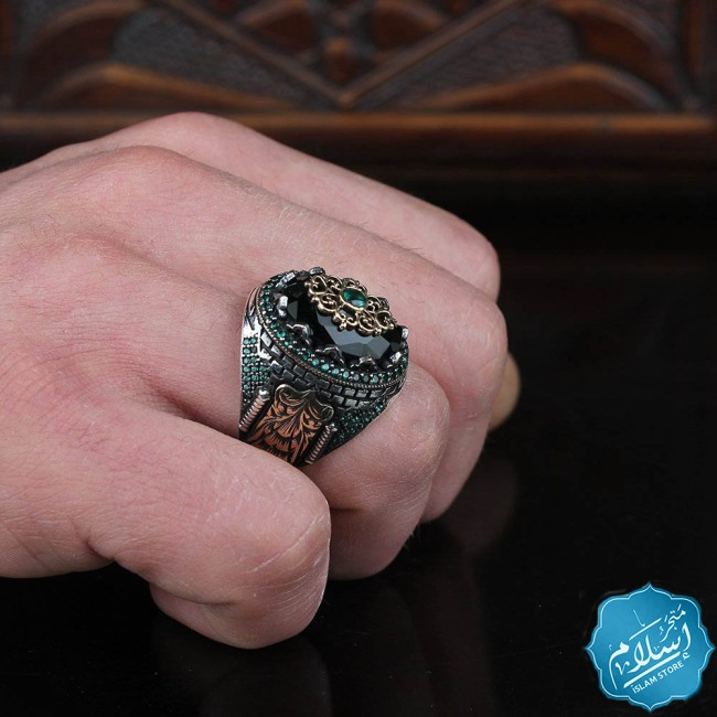 Mens silver ring with green zircon stone