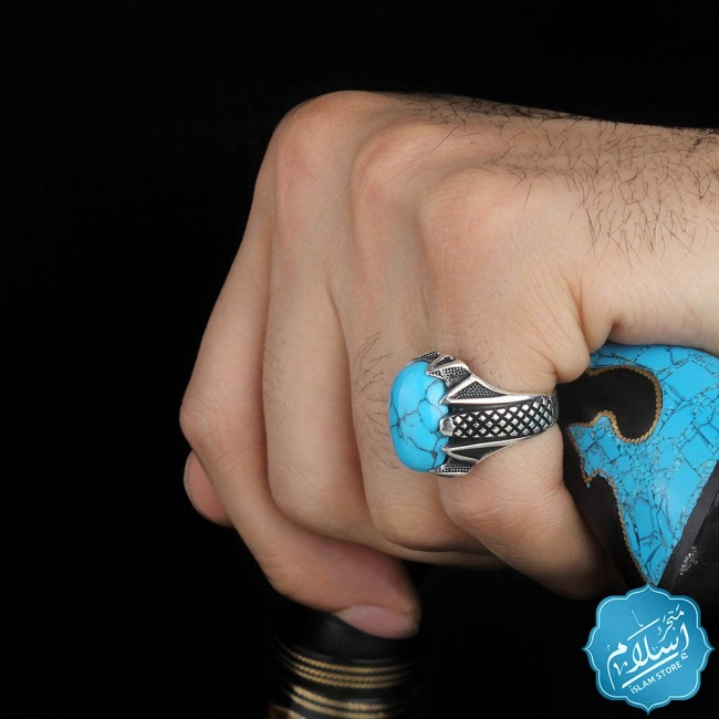 Silver Ring With Firuze Stone Blue