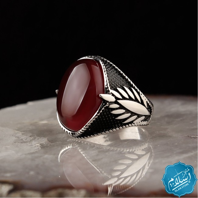 Silver ring with red dark agate stone
