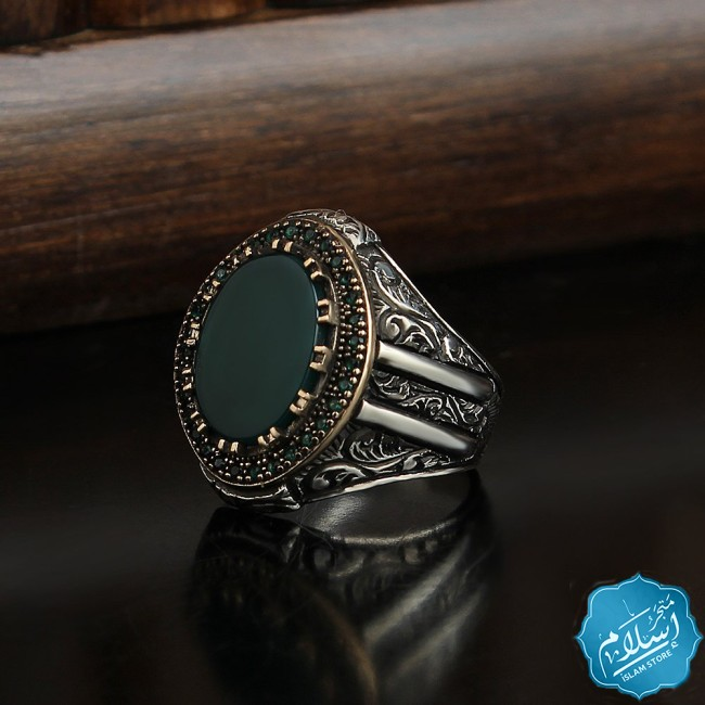 Men's silver ring with green َagate stone