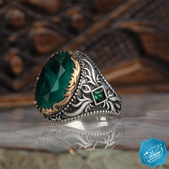 Men's silver ring decorated with paraiba Stone Green color