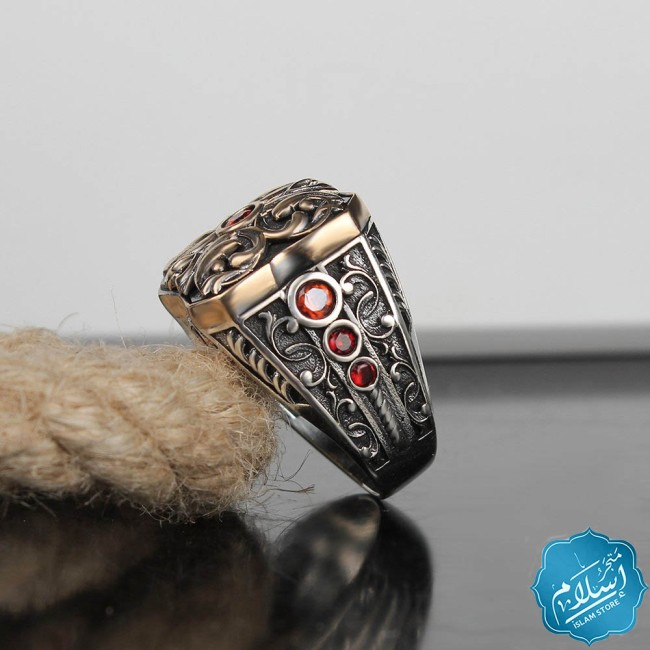 Sterling silver ring for men with zircon stone