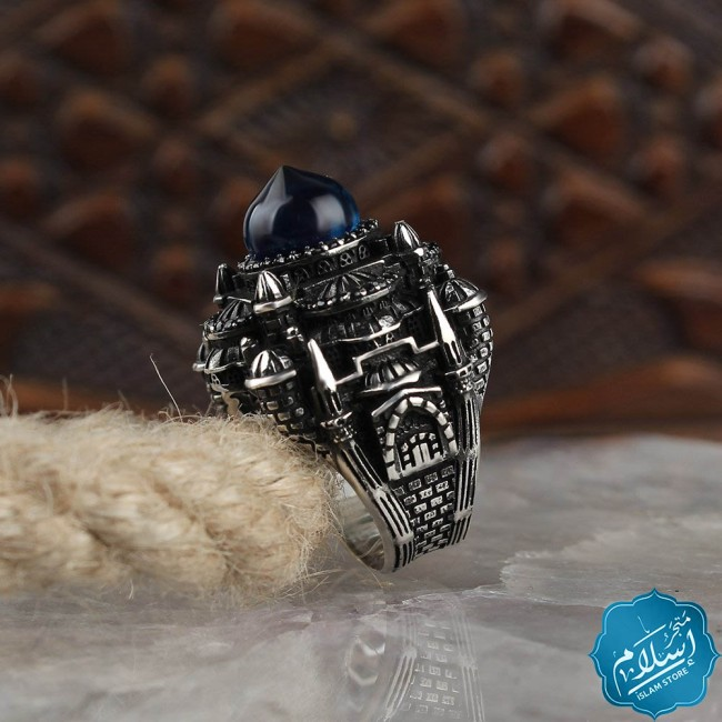 Silver ring for men with amber stone model mosque