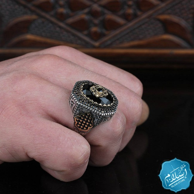 Men's silver ring with black zircon stone