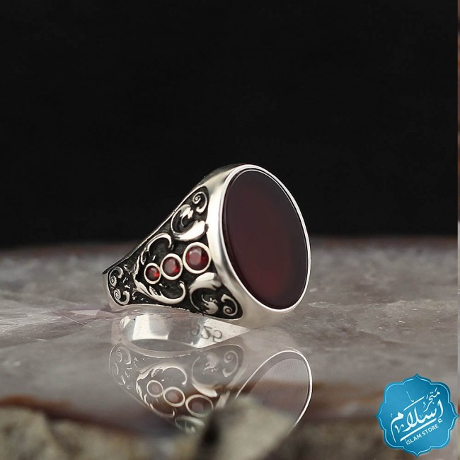 Men's ring silver caliber 925 dark red agate