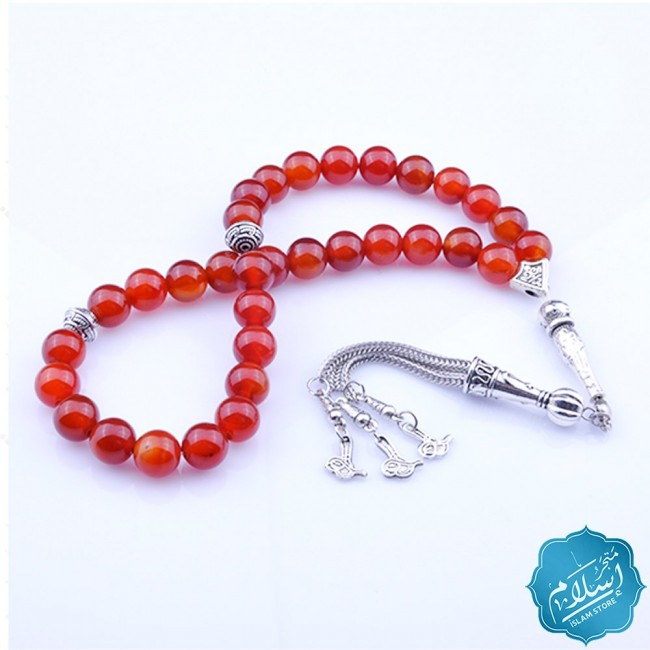 Rosary with red agate stone