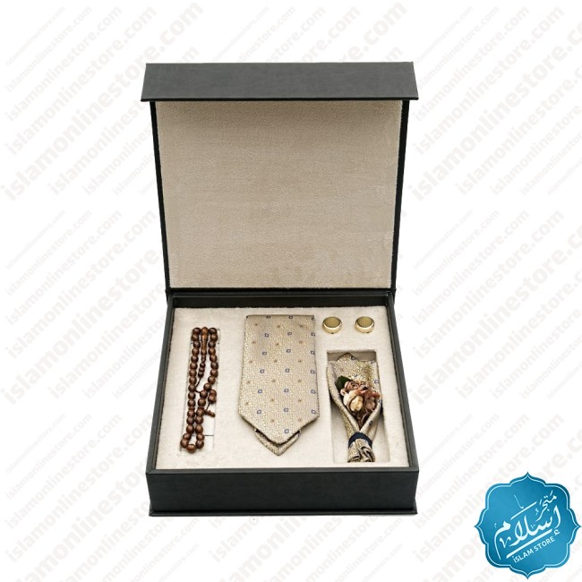 Luxurious leather tie, cufflink and rosary