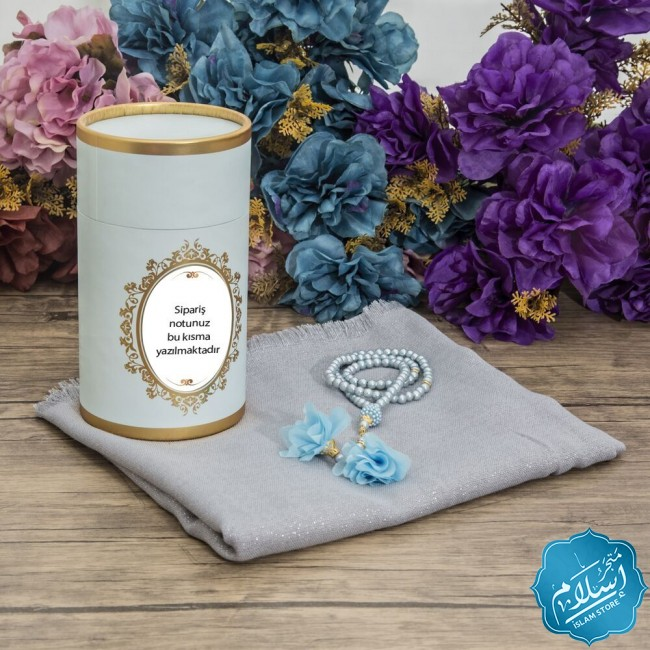 Blue cylinder box, luxury Shawl and pearl rosary