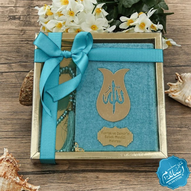 Islamic gift set for occasions turquoise color, Quran and a  luxury rosary