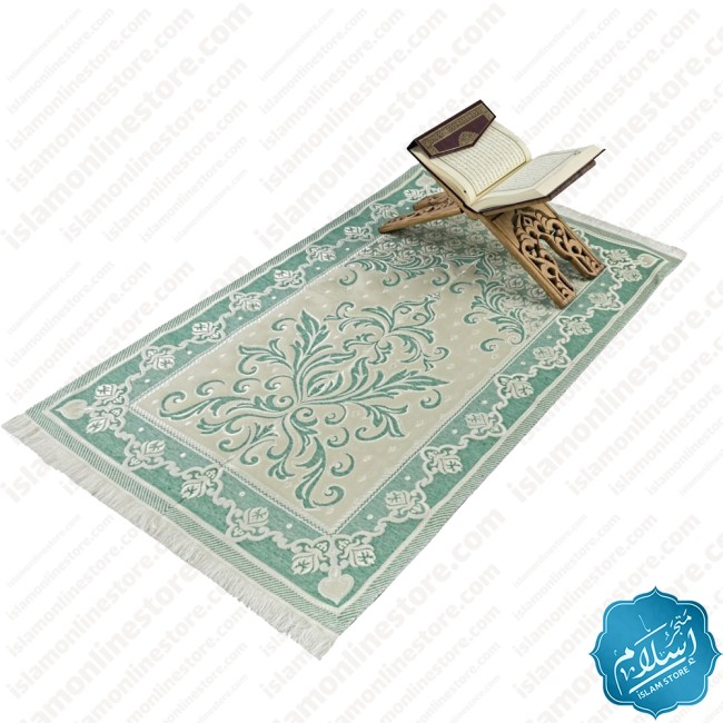 Islamic gift set for occasions green color, rosary and a prayer rug