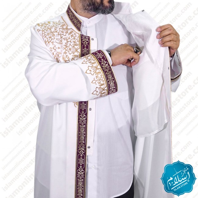 Embroidered abaya for men, cream color