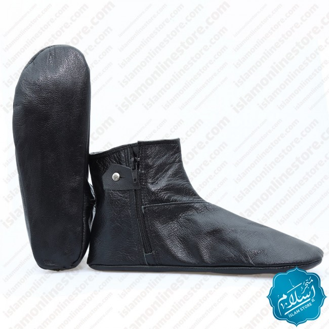 Natural Leather Slippers Black Color 4