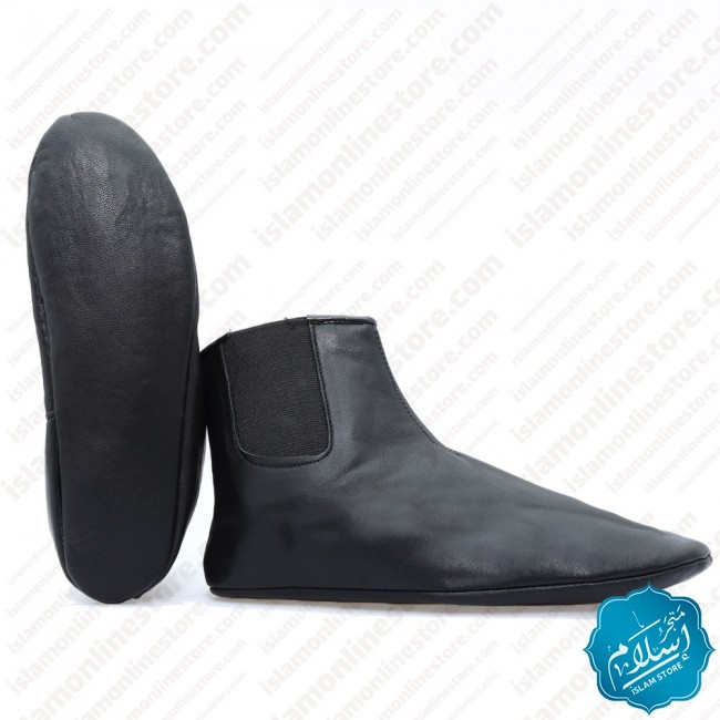Slippers Natural Leather Rubber Black Color