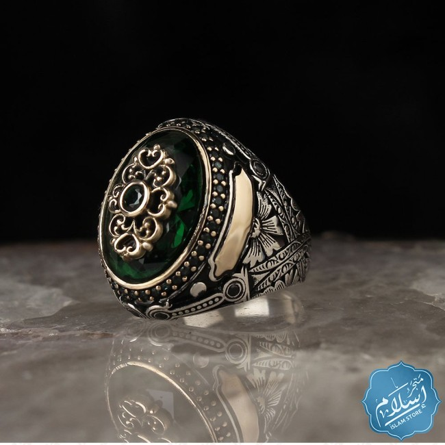 Men's silver ring with green zircon stone