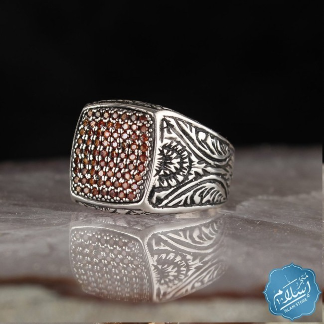 Silver ring with zircon stone