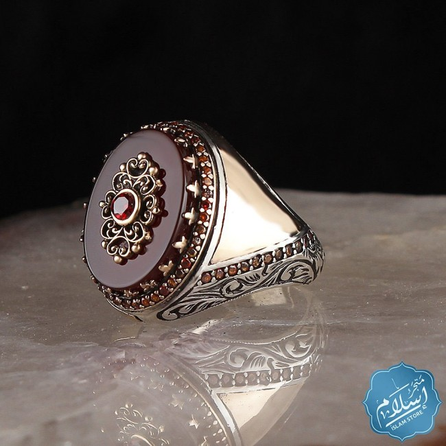 Mens silver ring with red agate stone