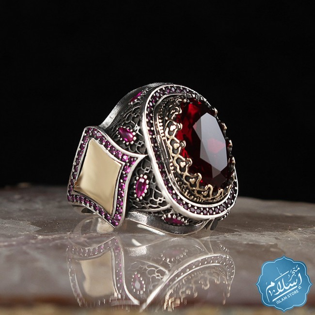 Silver mens ring with zircon stone