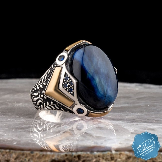 Silver ring with blue tiger eye stone