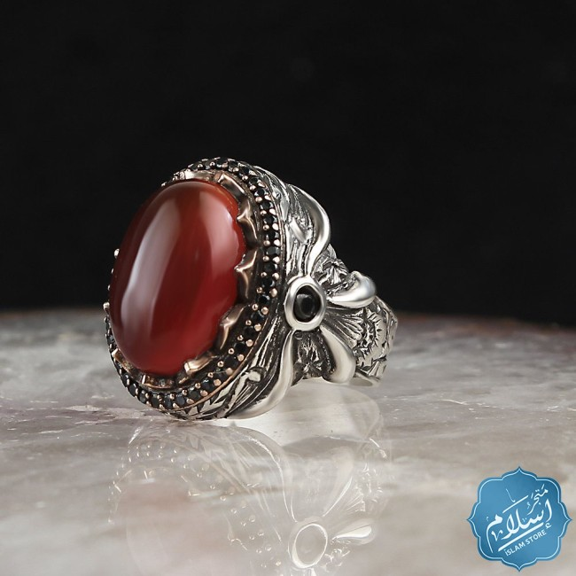 Silver ring with red agate stone