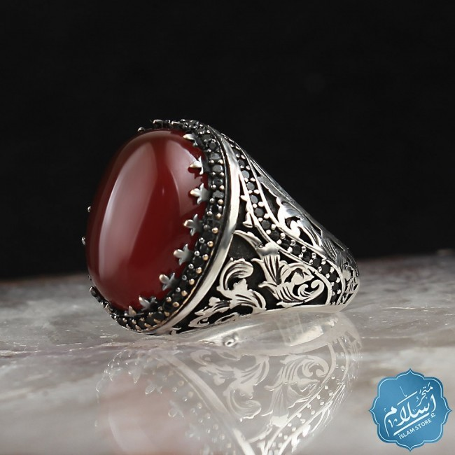 Silver Ring With Agate Gemstone red