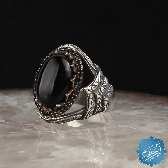 Silver mens ring with Black Onyx stone