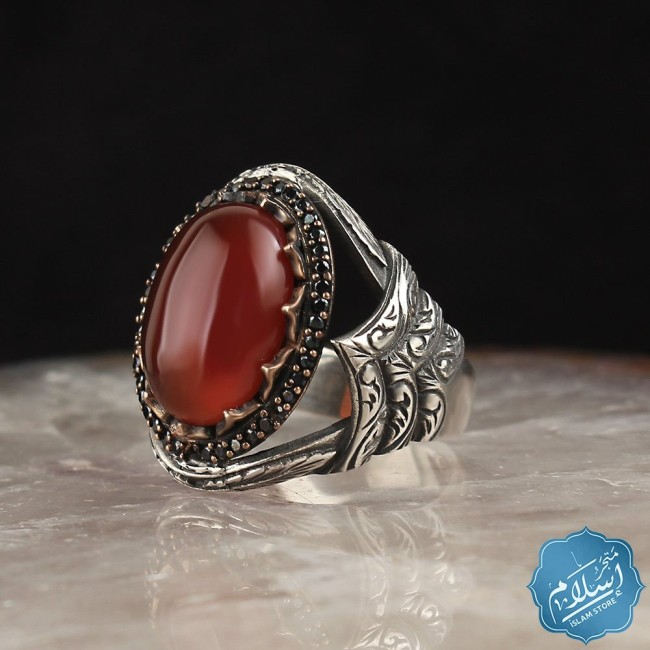 Silver mens ring with red agate stone