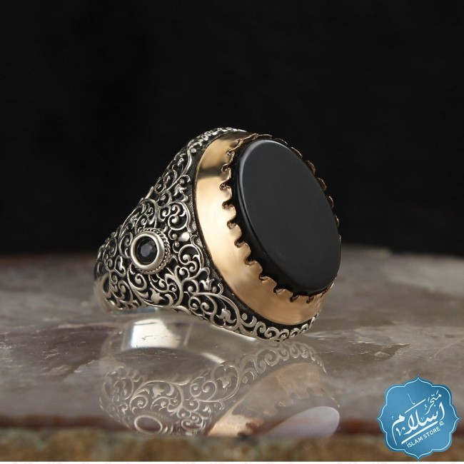 925 Sterling Silver Men Ring with Onyx stone