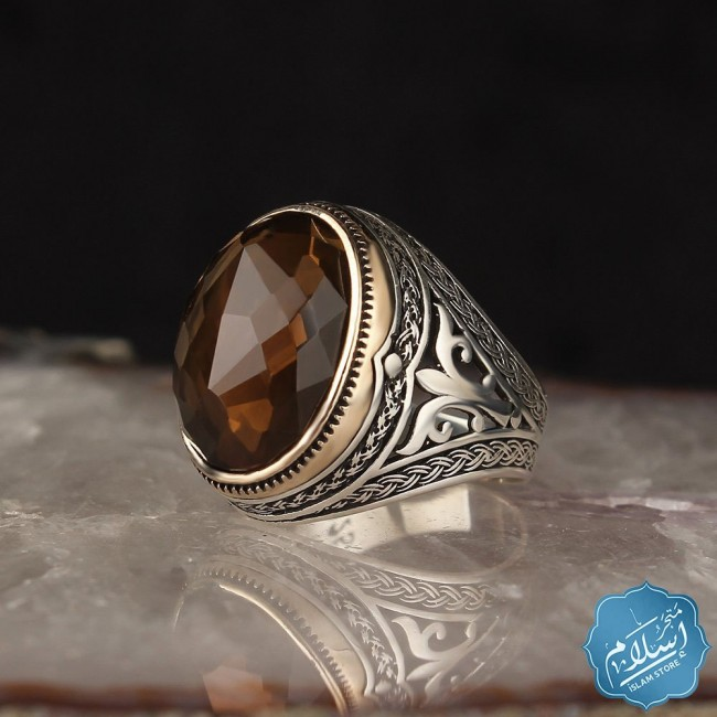 Men's silver ring with quartz stone
