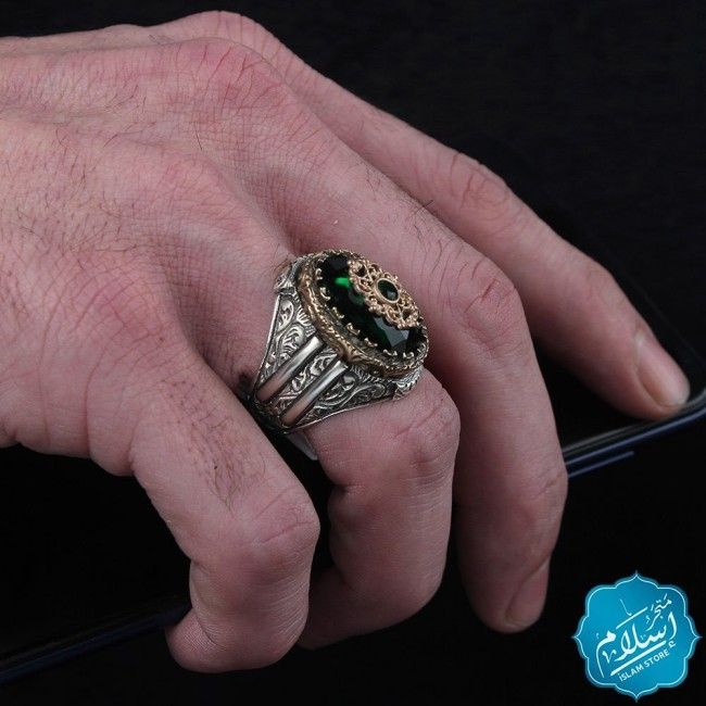Silver Ring With Zircon Stone Green color