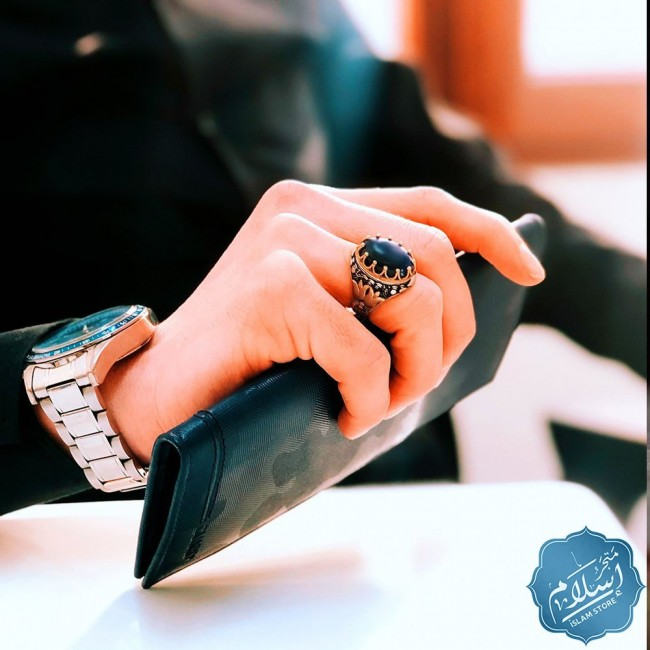 silver mens ring with  blue color