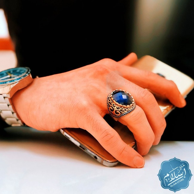 Silver ring for men with zircon stone blue color