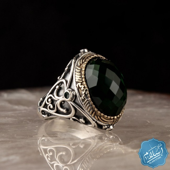 Silver ring for men with zircon stone green color