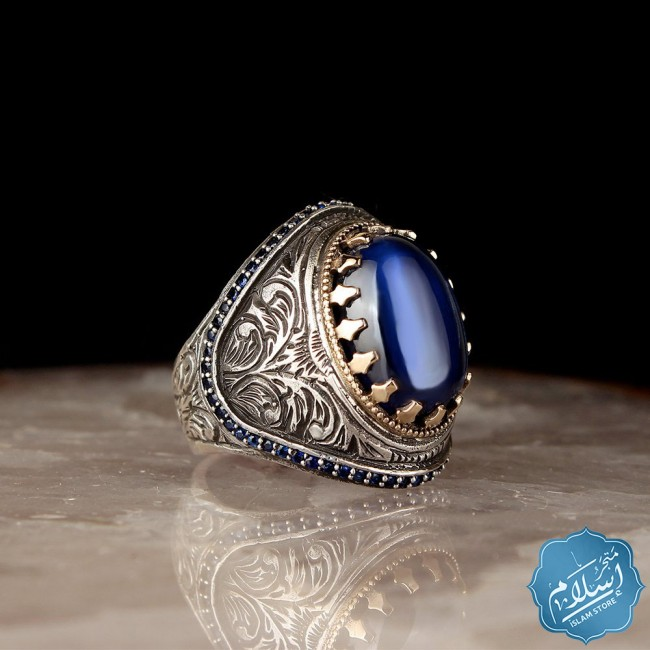 Silver ring 925 with blue zircon stone