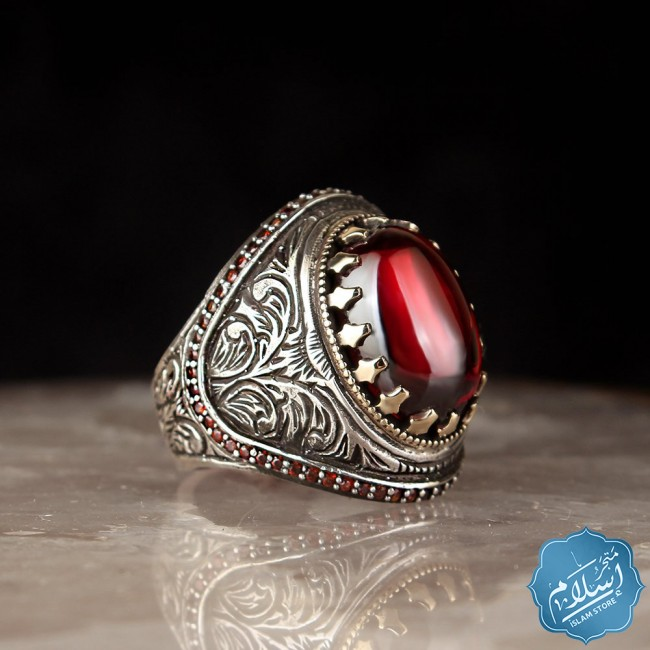 Silver ring with red zircon stone 2
