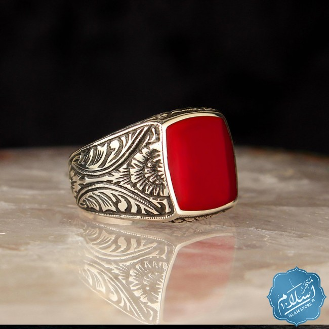 Silver ring for men in red color
