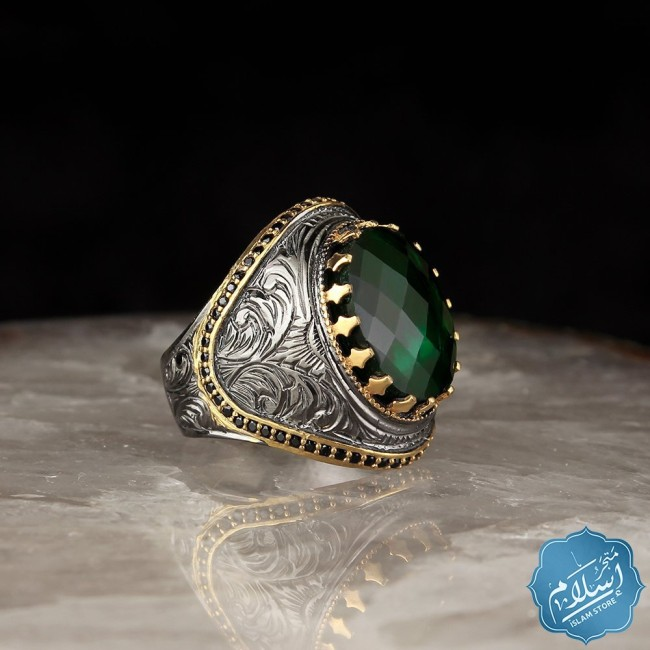 Silver ring Mens Green Color
