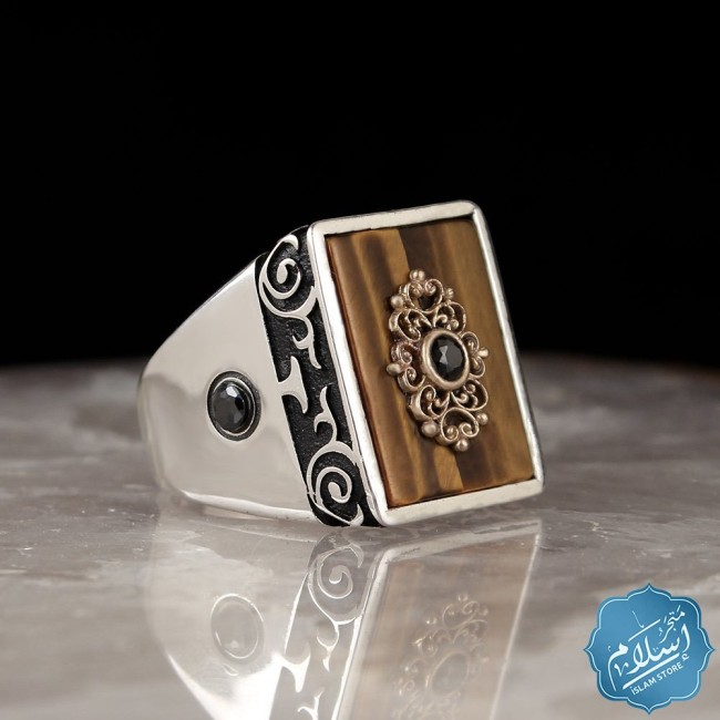 Silver ring for men brown color