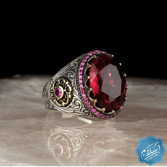 Silver ring with pink zircon stone