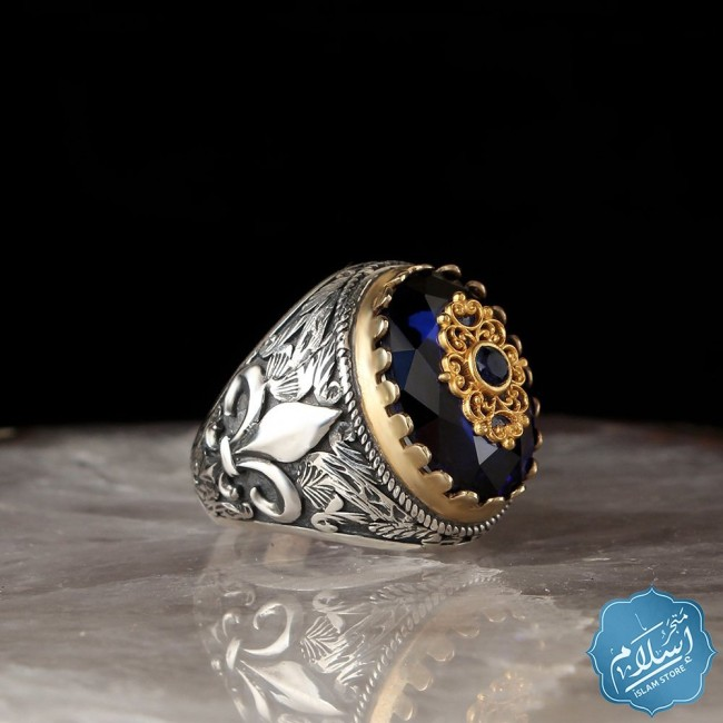 Mens silver ring with blue zircon stone