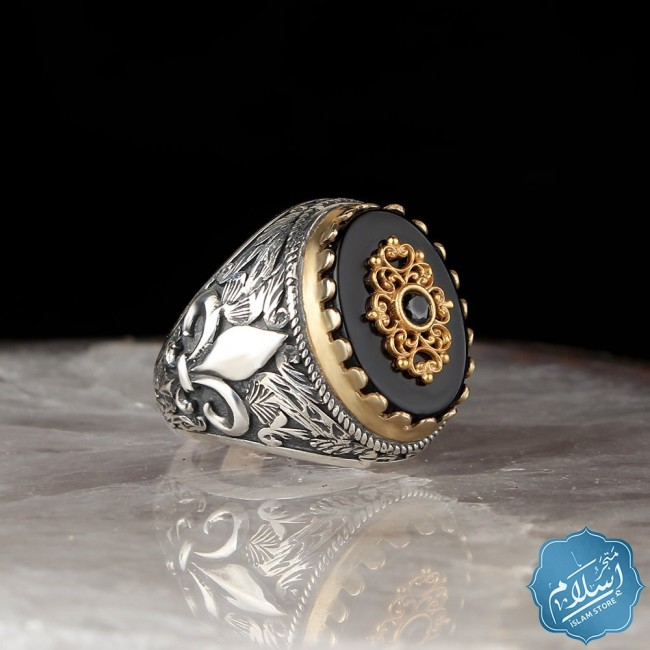 Mens silver ring with black onyx stone