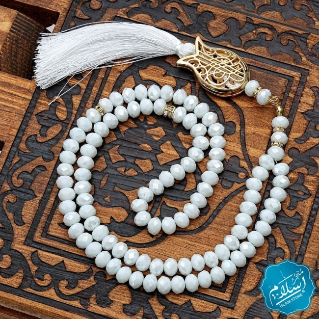 Crystal rosary white color