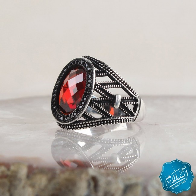 Silver Ring With Zircon Stone Red