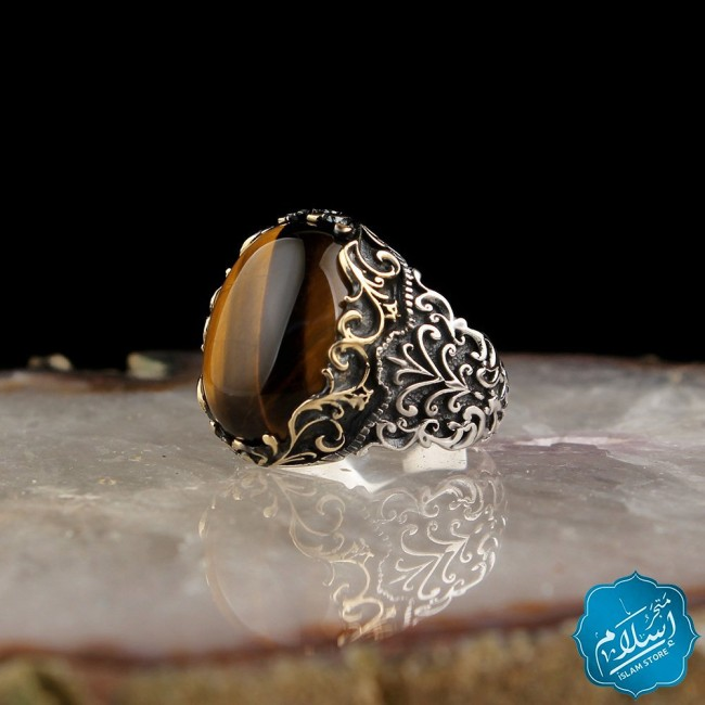 Silver Ring With Tiger Eye Stone Brown