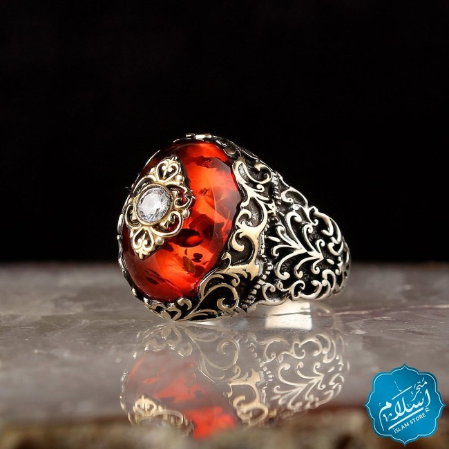 Silver Ring With Amber Stone Red Color
